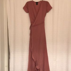 Pink Silk Maxi Shortsleeve Wrap Dress